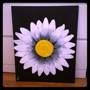 White daisy on black canvas painting